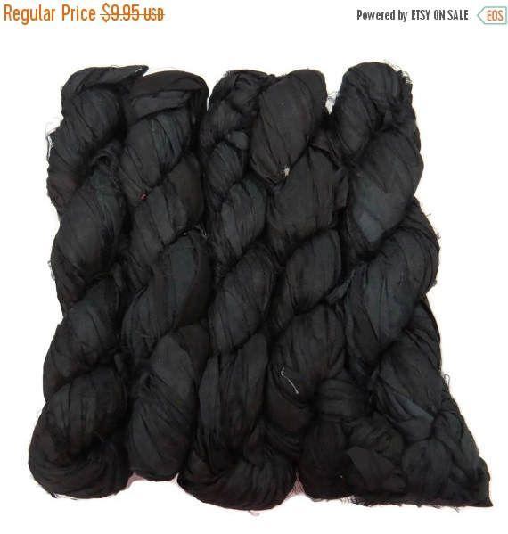 SALE New! Sari Silk Ribbon, 100g skein, Black