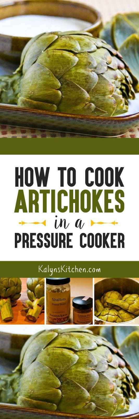 Whether you use the Instant Pot, Electric Pressure Cooker, or Stovetop Pressure Cooker, this post will show you How to Cook Artichokes in a Pressure Cooker! Artichokes are great in the spring, so give this a try. [found on KalynsKitchen.com]