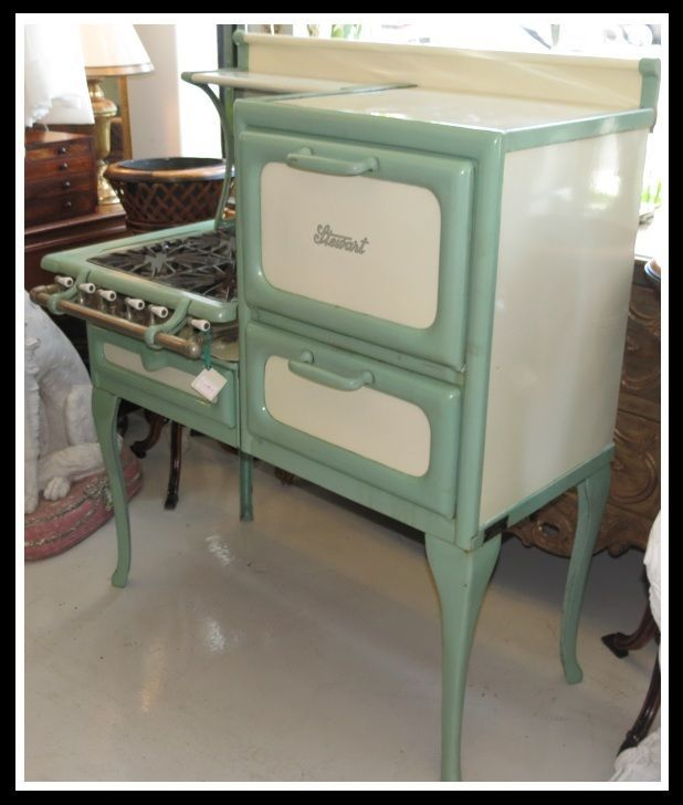 Unusual Antique Stewart Green Enamel Stove / Oven | Stove ...