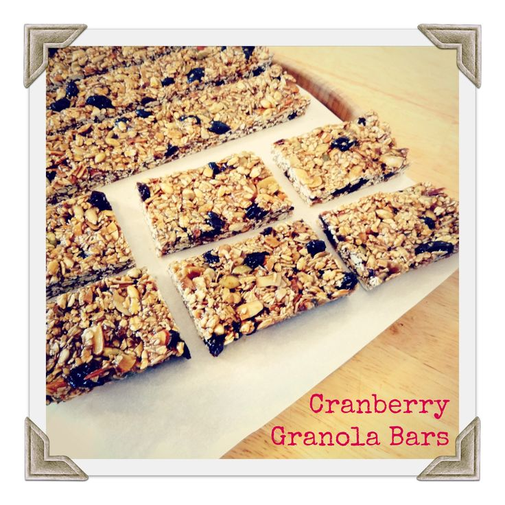 cranberry granola bars:  want to make w/ Z