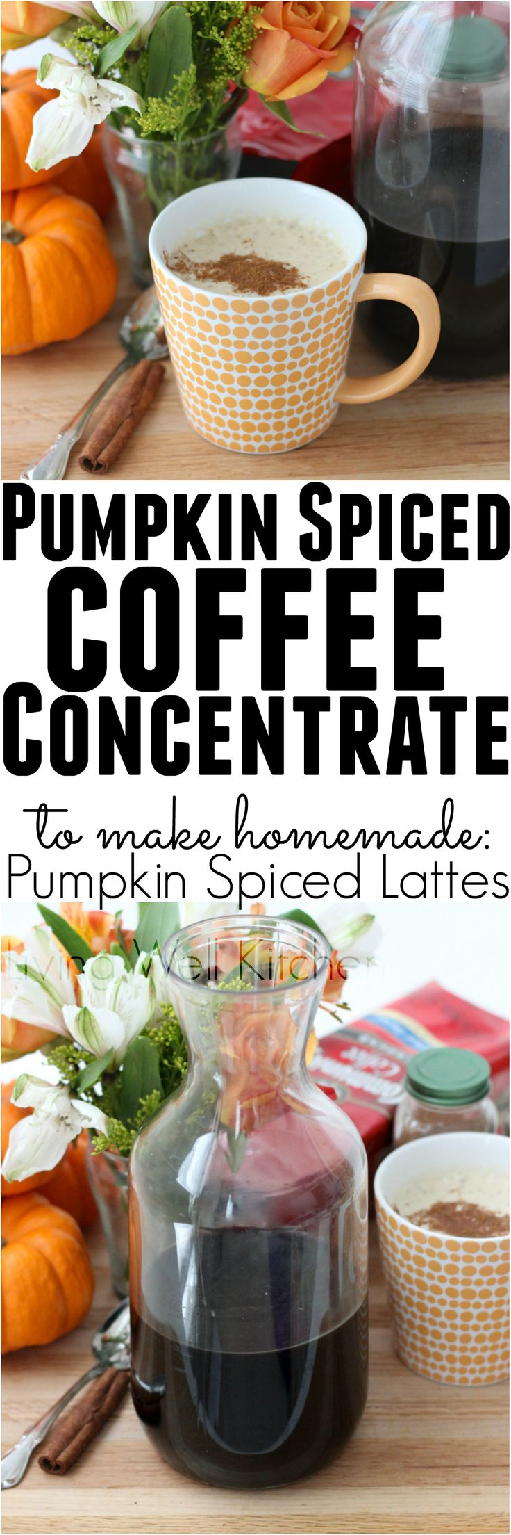 Pumpkin Spiced Coffee Concentrate is the best thing to ever happen to your fall morning. Great for making homemade Pumpkin Spiced Lattes!