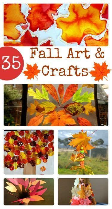 Here are 35 fun Fall arts and crafts for the whole family! #Familyfun #crafts #Fall
