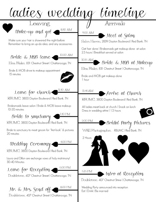 23 best wedding day timeline images on pinterest wedding i love wedding timeline idea they are absolutely amazing for wedding anniversaries dont forget to create one for your renewal of vows junglespirit Choice Image