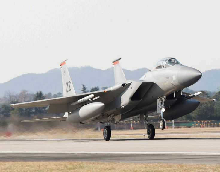 US Air Force F-15 fighter jet touching down at Gwangju Air Base in the southwestern city of Gwangju