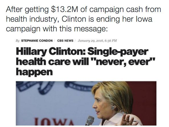 """In 1994, Hillary Clinton said single-payer was inevitable.  After receiving millions from the health care industry, she says single-payer is impossible.  Nice to know that we can never join the civilzed nations of the world who consider health care a right, not a """"nice-to-have"""" perk of being wealthy."""