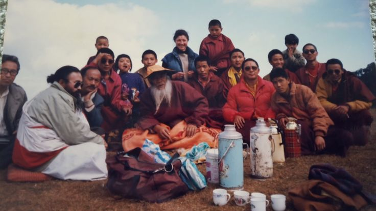 This photo was taken in the 1990s near Tiger Hill lookout in Darjeeling. We had all gone for a picnic with Chadral Rinpoche from the Monastery of Jore Bungalow...
