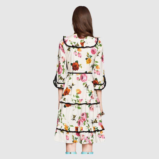 Get The Look: Margot Robbie's New York City Gucci Rose Print Ribbon Bow Neckline Poplin Mid Length Dress and Black Leather Studded Platform PumpsTrue Viral News | True Viral News