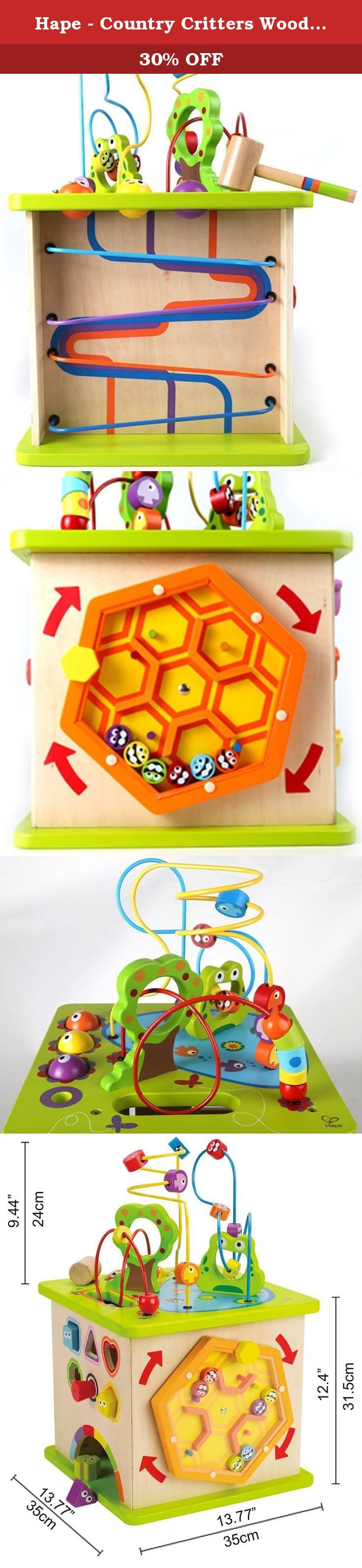 Hape - Country Critters Wooden Activity Play Cube. Fight boredom with five sides of fun activites! The Country Critters Play Cube features a shape sorting puzzle, a ball roller coaster, rotating maze and a tracking panel, all topped with a brightly-colored, unique floating wire maze to provide children hours of entertainment. All of the shapes and animals are adorably painted with large, animated eyes that are sure to delight. Encourages imaginative thinking, and the development of...