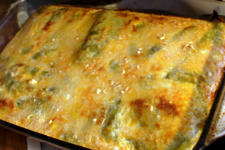 Chili Relleno Cassarole  This recipe fits in a 13x9x2 pan. It is easily halved but makes for fantastic leftovers - hot or cold.  Ingredients: 4-4oz cans of whole Ortega Chiles, seeds and tough veins removed 2 Cups grated Monterey Jack Cheese 2 Cups grated Cheddar Cheese 4 eggs 12 oz. can evaporated milk  Chopped fresh tomatoes (olives, cilantro, salsa, sour cream or other garnish that you enjoy)