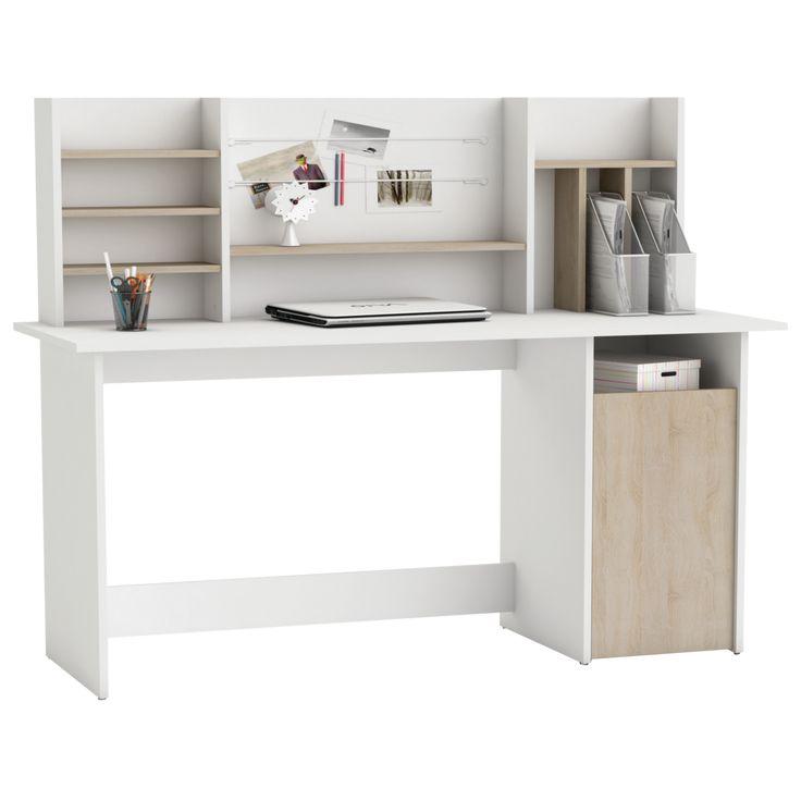 """""""Ambre"""" íróasztal, 1 ajtós, hátlapos, sonoma tölgy/fehér dekor. Mérete: 134,8x78x50,1 cm. Csomagolási méret: 7 x 77,2 x 146,5 cm."""