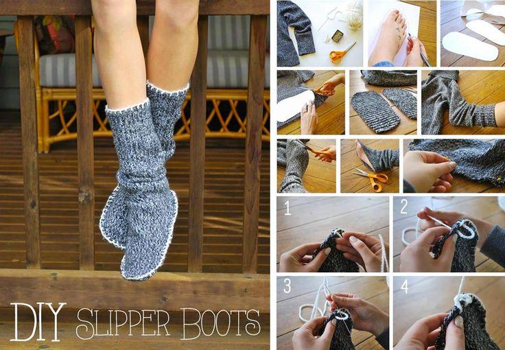 Riutilizzare i maglioni di lana - Caldi calzettoni per casa