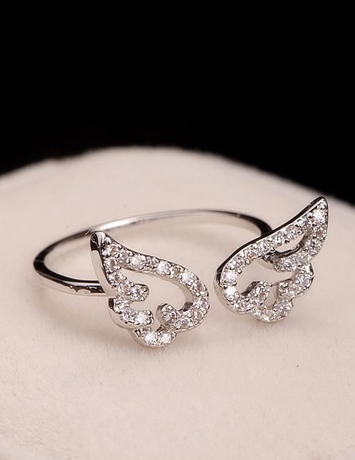 Angel wings open ring