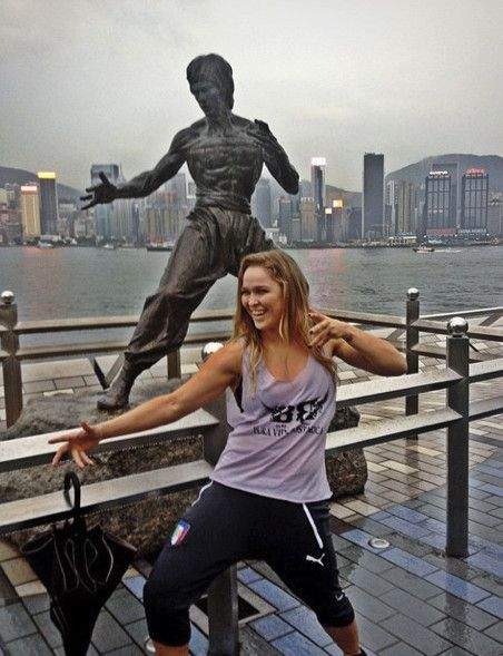 Rhonda Rousey in Hong Kong, getting her Bruce Lee on!