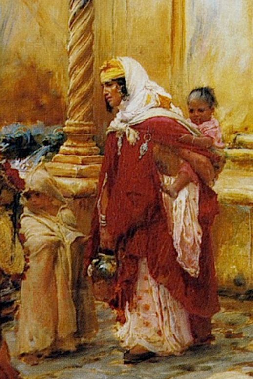 """Frederick Arthur Bridgman, """"The Fountain of Borkadem"""", detail.  I love that little one on the left.  He's adorable.  (It's a boy, right?)"""