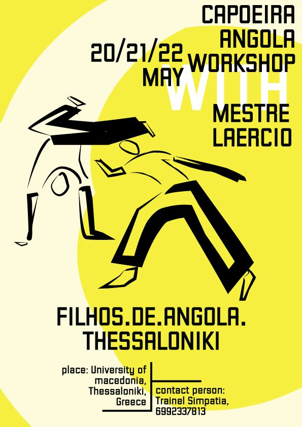 Poster for Capoeira Angola workshop with Mestre Laercio