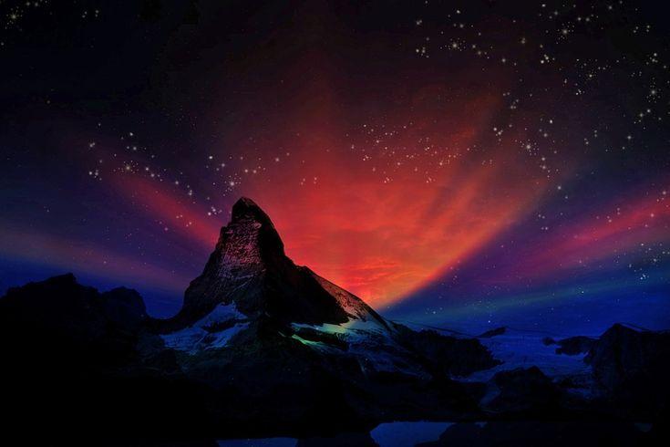 Matterhorn, Zwitserse, Fantasie, Landschap, S Nachts