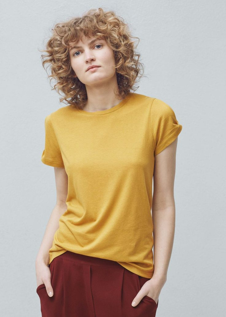 Modal t-skjorte i bomull - T-skjorter for Damer | MANGO Norge.fin farge,bra materiale,usikker på lengda(lang!) og snittet(åpne skuldre)