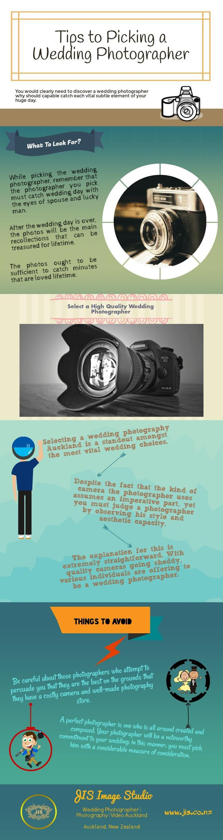 Tips to Picking a Wedding Photographer Auckland. You would clearly need to discover a #wedding #photographer why should capable catch each vital subtle element of your huge day. Selecting a wedding #photography #Auckland is a standout amongst the most vital wedding choices. A perfect photographer is one who is all around created and composed. #infographic