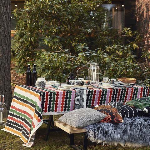 Marimekko tablecloth and pillows