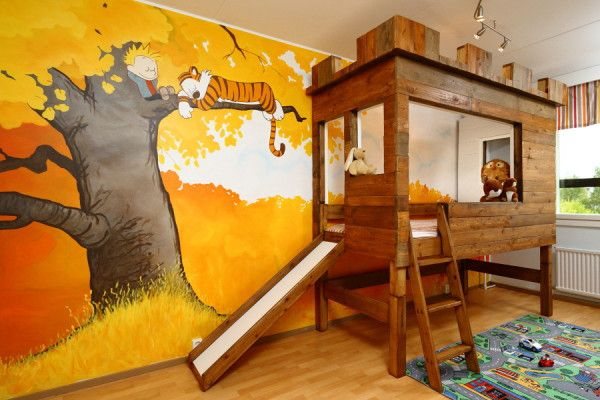 Calvin and Hobbes nursery. This is beautiful. Via http://j.mp/10ajjVM