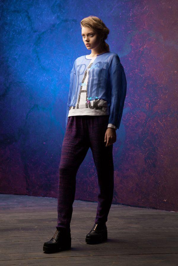 Lookbook fall-winter 2014-15. Knitted pants - 200$ #25twentyfive25 #knitwear #fashion #pants #violet