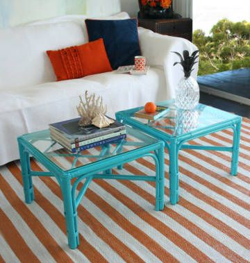Painted bamboo tables and striped rug