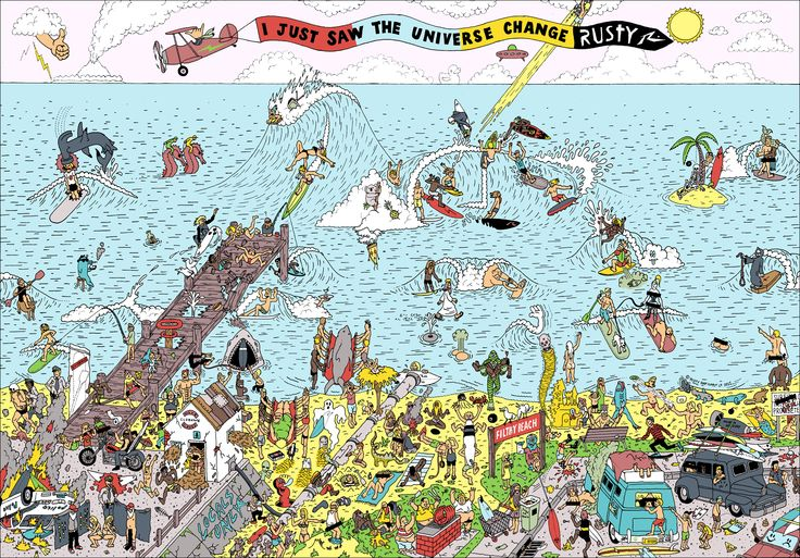 Where's Wally inspired cartoon for Rusty Surfboards. Illustration by Bird.