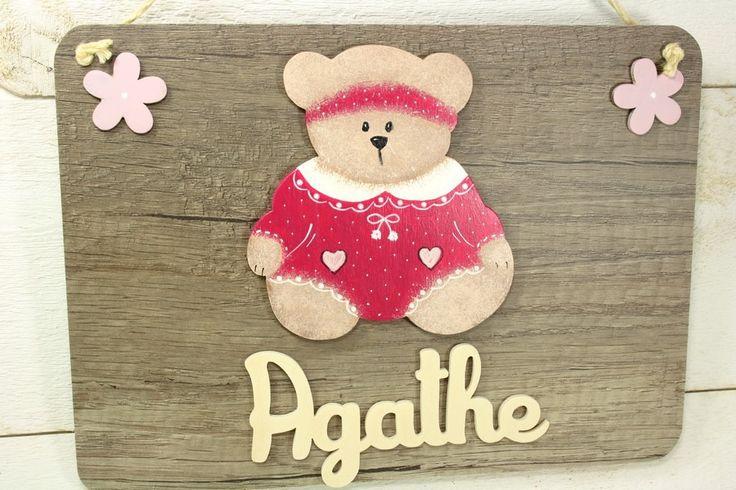 Plaque de porte pr nom oursonne rose et fleurs en bois for Decoration porte prenom