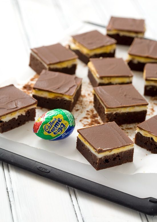 Cadbury creme egg brownies (just might take these over for Easter dinner dessert)