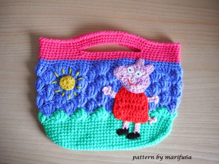 Free crochet patterns and video tutorials: how to crochet peppa pig purse bag free pattern tutorial by marifu6a