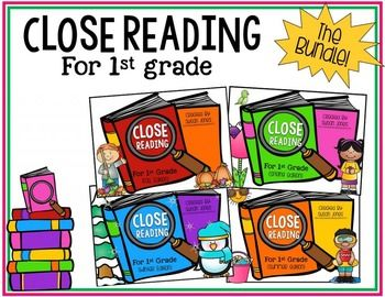 Close Reading for 1st Grade! This unit will keep your students engaged in close reading strategies throughout the entire year. There are 20 fiction and 20 non-fiction seasonal stories with text dependent questions and more!