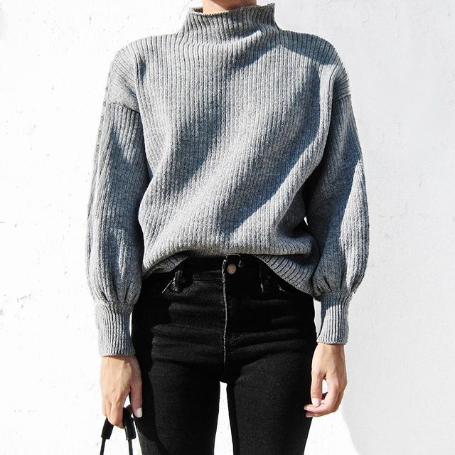 sweater + high waisted black jeans