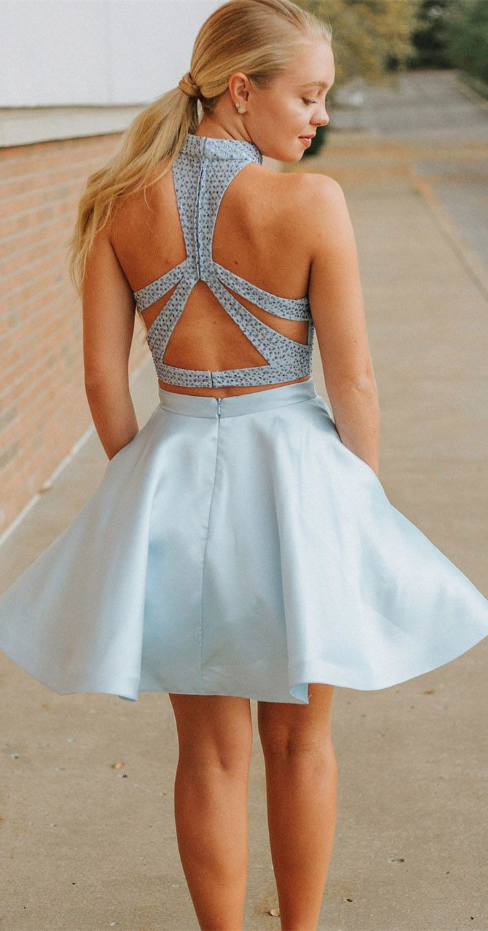 9edc73388ef4 Light Blue Two Piece Mini Homecoming Dresses with Pocket Halter Beaded Hoco  Dress ard1709 en 2019 | Homecoming | Homecoming dresses, Dresses y Blue ...