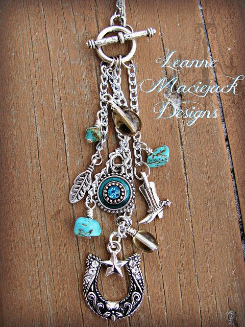 cowgirl necklace - silver horseshoe, cowgirl boot, feather and turquoise
