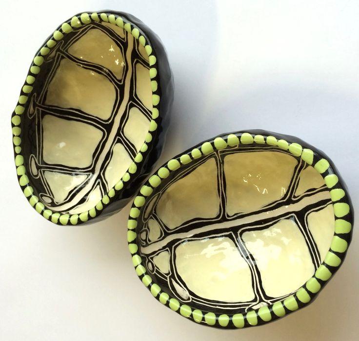 Emu Egg Encasement ceramic Pinch Pots - Penny Evans Art