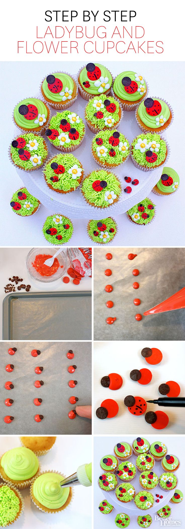 Impress guests at any summertime gathering with these festive Ladybug and Flower Cupcakes: http://www.bhg.com/recipes/desserts/cupcakes/ladybug-and-flower-cupcakes/?socsrc=bhgpin050914ladybugcupcakes