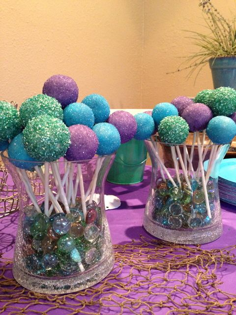 Sparkly cake pops at a Mermaid party! See more party ideas at CatchMyParty.com! #partyideas #mermaid