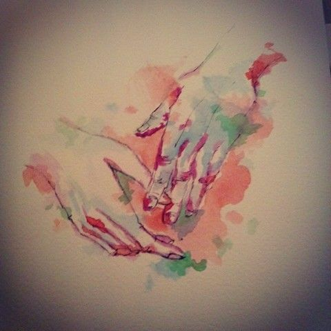 #drawing #watercolour #acuarela #face #rostro #hands #manos