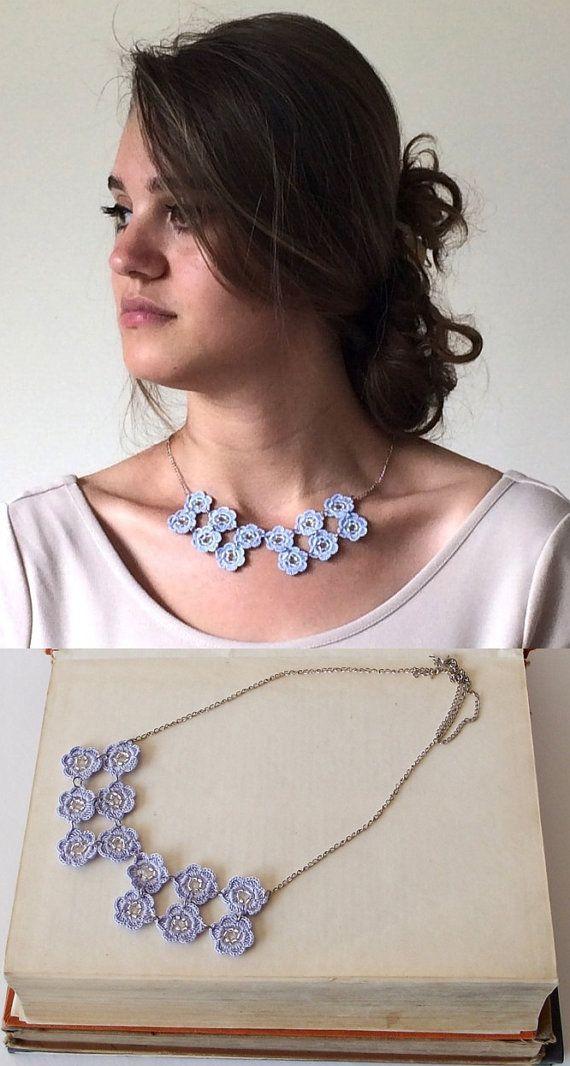 Blue Statement Necklace, Crochet Beaded Bib Necklace, Oya Boho Flower Collar, Geometric Chain Necklace, Beaded Crochet Jewelry, Women's Gift