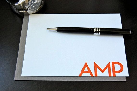 Personalized Men's Stationery - Letterpress Initials Note Cards - Gift for stylish men