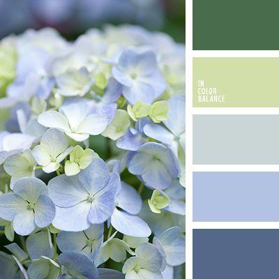 бледно-синий цвет, васильковый, голубой, зеленый, насыщенный зеленый, оттенки пастельных тонов, салатовый, светло-салатовый, серый, серый с оттенком голубого, синий, цвет гортензии, цвет молодой зелени.