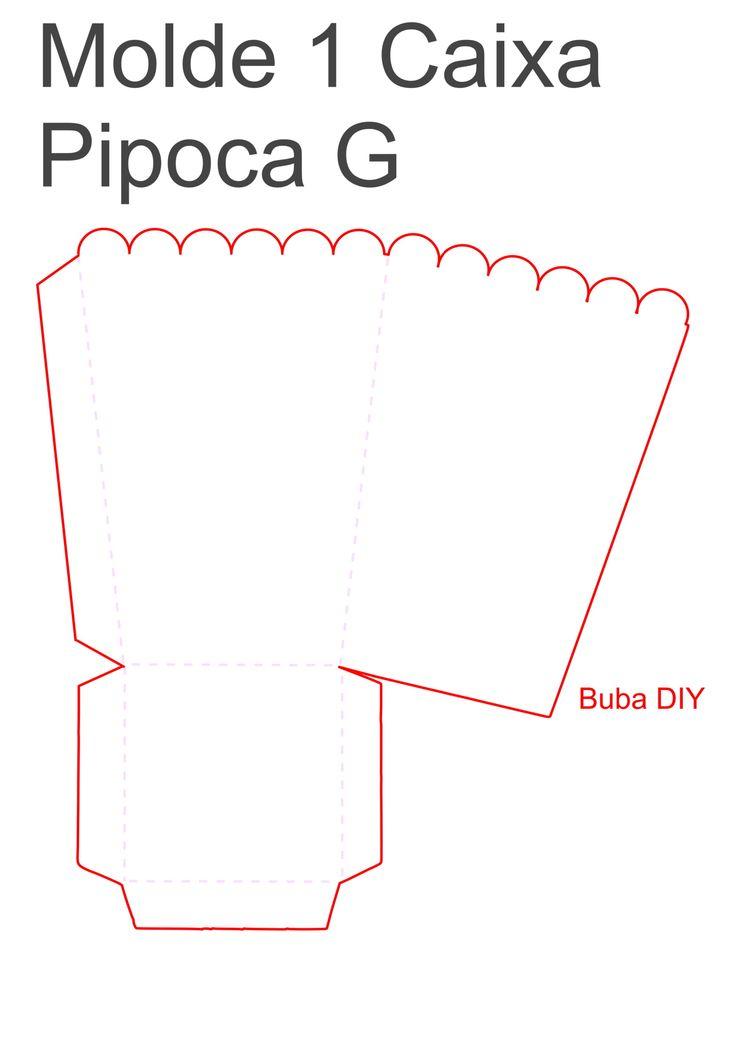 Decoração cinema - molde 1 caixa pipoca grande