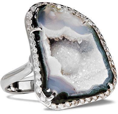Kimberly McDonald - 18-karat White Gold, Geode And Diamond Ring - 7 1/2