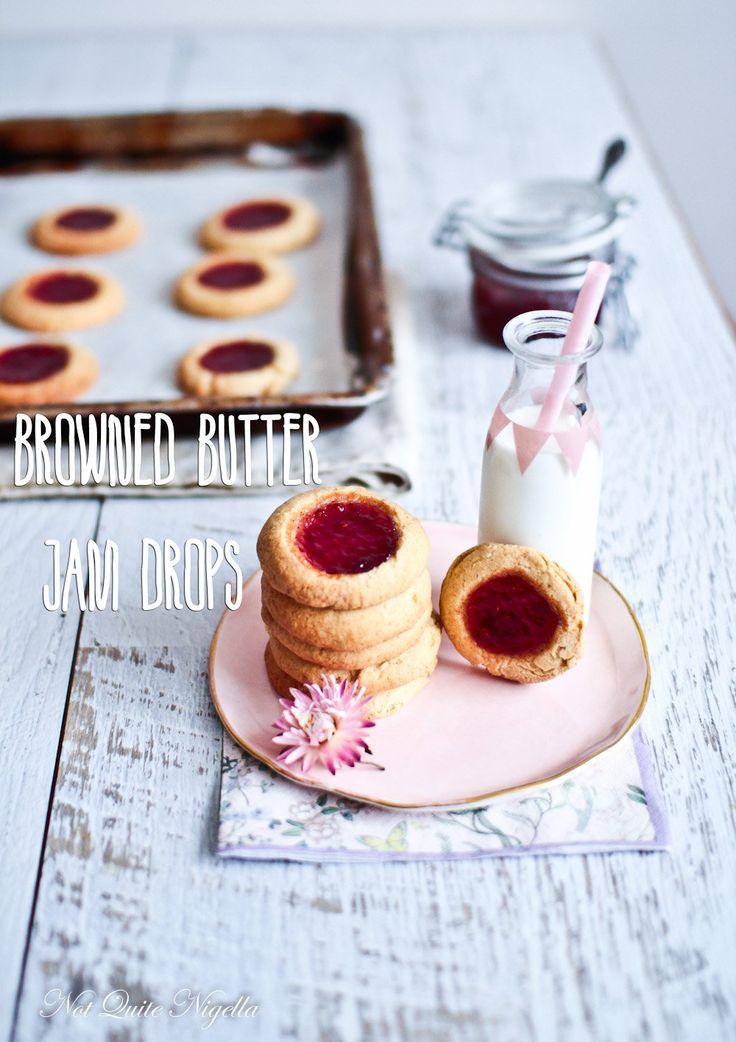 Jam Drop Brown Butter Cookies Biscuits @ Not Quite Nigella
