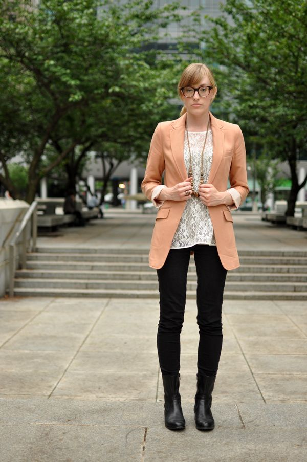 peach blazer + lace blouse + black pants + black booties (eat. sleep. wear.)