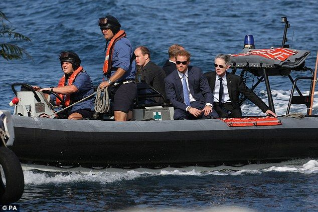 Harry was seen arriving on a speedboat after his vessel broke down over the weekend...