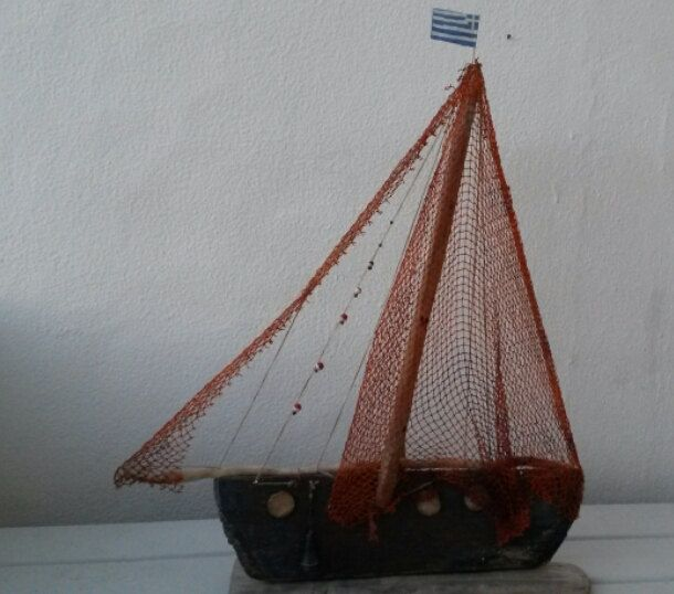 Greek Driftwood Sailboat, Reclaimed Wood Sailboat,  Beach Wood Boat, Reclaimed Wood Art, by WillyaCollection on Etsy