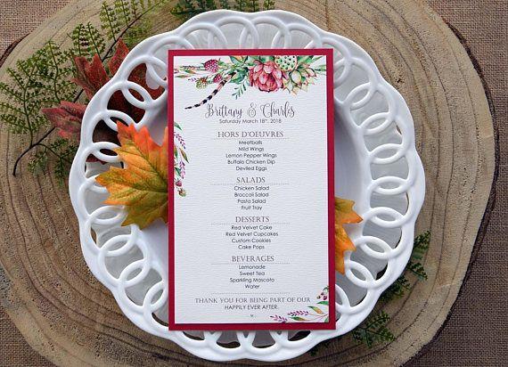 Tropical Wedding Dinner Menu Colorful Menu Raspberries