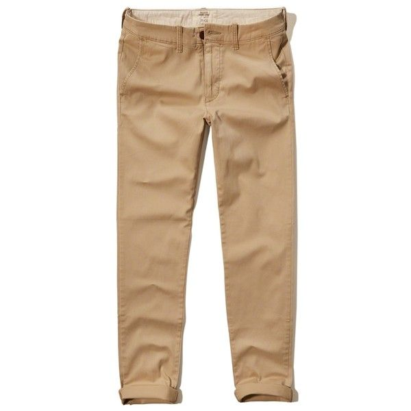 Hollister Skinny Zipper Fly Chino ($22) ❤ liked on Polyvore featuring men's fashion, men's clothing, men's pants, men's casual pants, khaki, mens khaki chino pants, mens skinny fit dress pants, mens chinos pants, mens zip off pants and mens khaki pants