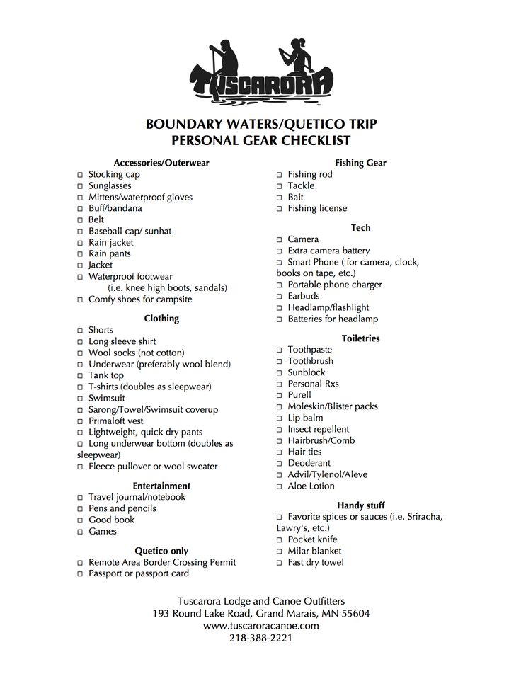 Printable Boundary Waters Packing List for personal gear, clothes, and other personal items to help you pack light and portage smart on your BWCAW/Quetico canoe trip. Helpful if you're doing a complete outfitted trip where the canoe, food, and camping gear is all taken care of. Remember, you have to carry everything you pack and only the food pack gets lighter!